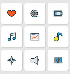 Media icons colored line set with low battery vector