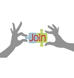Member hands Join together puzzle vector image