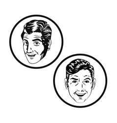 men face comic style black and white vector image