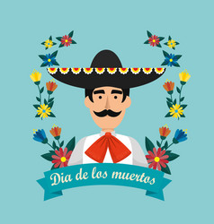 Mexican mariachi with hat and flowers to event vector
