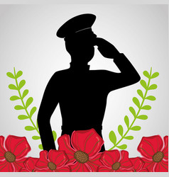 military soldier with flowers to anzac day vector image
