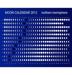 Moon calendar for northern hemisphere vector image