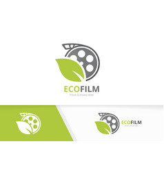 Movie and leaf logo combination cinema and vector