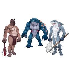 Mutant creatures half animal and human vector