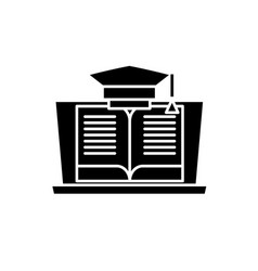 online education black icon sign on vector image