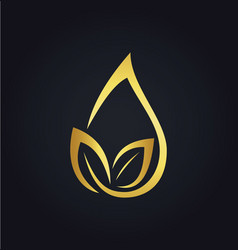 Organic leaf droplet gold logo vector