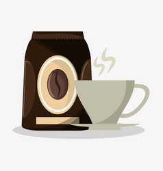packaking of coffee and porcelain cup with steam vector image