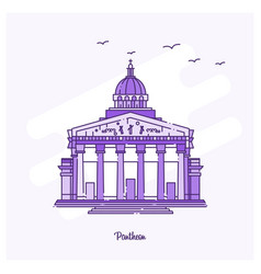 pantheon landmark purple dotted line skyline vector image