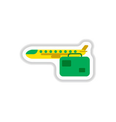 Paper sticker on white background aircraft vector