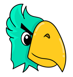 Parrot head emoticon with angry expression doodle vector
