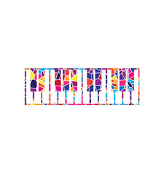 Piano keyboard sign stained glass icon on vector