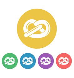 pretzel set round flat style icons vector image