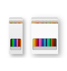Realistic box of colored pencils icon set vector