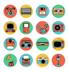 Retro electronic equipment icons vector
