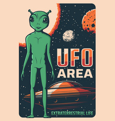 Retro poster with alien and ufo card vector