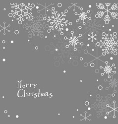Retro simple christmas card with white snowflakes vector