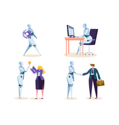 robot work in office with people machine ai vector image