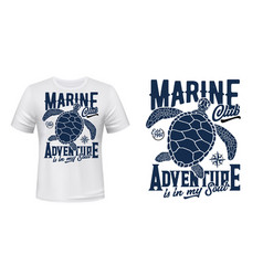 Sea turtle t-shirt print mockup vector