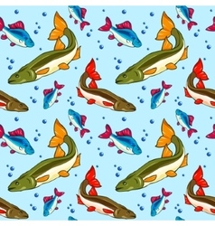 Seamless pattern fish vector image