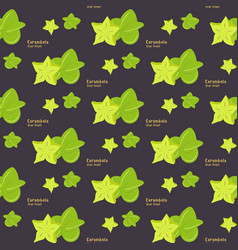 seamless pattern of exotic tropical fruit star vector image