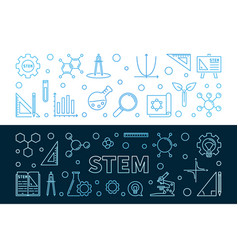 Set 2 stem concept outline colored vector