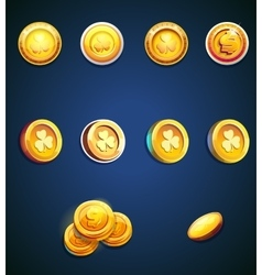 set cartoon coins vector image