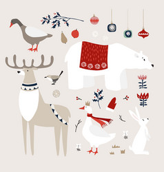 set cute christmas animals birds and vector image