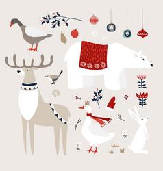 set cute christmas animals birds vector image