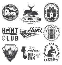 Set hunting club and outdoor adventure quotes vector