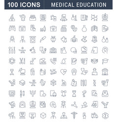 set line icons medical education vector image