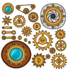 Set of steampunk gears screws and cogwheels in vector