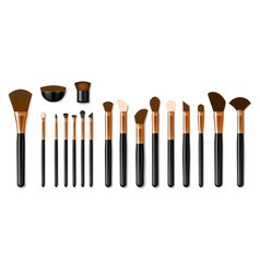 Set professional golden makeup brushes isolated vector