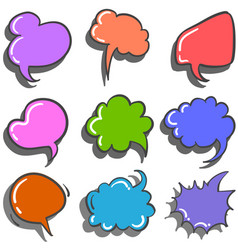Set text balloon doodle style vector