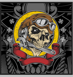 skull with motorcycle helmet biting wrench vector image