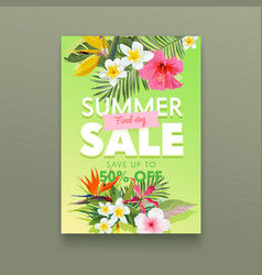 summer sale banner with tropical flowers plumeria vector image