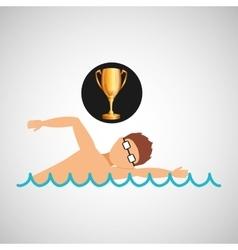 Swimming man trophy sport design vector