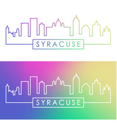 syracuse city skyline colorful linear style vector image