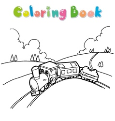 Train coloring book vector