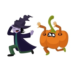 Two children dressed for a Halloween running vector