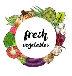 types of fresh vegetables in the circle vector image