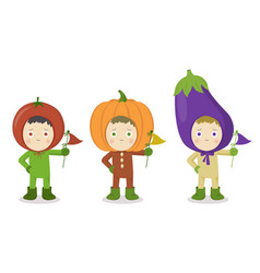 vegetable head child character tomato pumpkin vector image