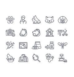 veterinerian icons set vector image