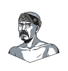 Vintage monochrome concept latino man vector