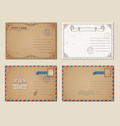 vintage postcards postage stamps vector image