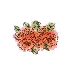 Watercolor drawing of roses bouquet decorative vector