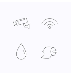 Wi-fi video monitoring and water drop icons vector image