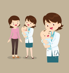 Woman doctor and baby with mom vector