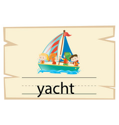 wordcard template for word yacht vector image