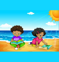 Young african kids at the beach vector