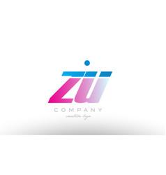 zu z u alphabet letter combination pink blue bold vector image